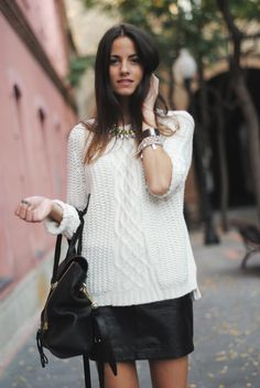 creme sweater + leather skirt. perfect balance of tough + soft for fall