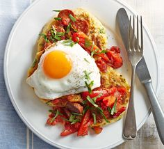 Served for brunch, lunch or dinner, these savoury pancakes topped with spicy sausage and sliced peppers are sure to satisfy