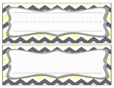 Chevron Name Cards - Gray/Yellow