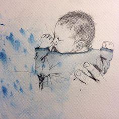 Luise Faurholt: Johan. Tiny drawing #watercolor #drawing #newborn #luisestinydrawings