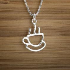 Coffee Cup Charm - STERLING SILVER. via Etsy. $9.00