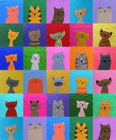 cat quilt by shiny happy world