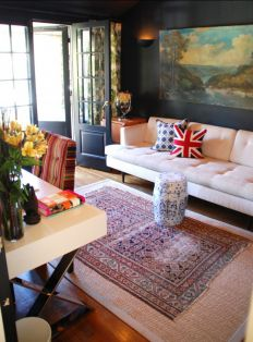 Eclectic Home Office By Lisa Borgnes Giramonti Layering Rugs Oriental Over A Sisal Rug