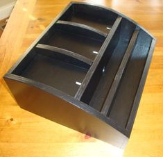 Black Wood Charging Station / Valet / Organizer W/ipad Compartment