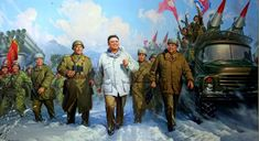 "North Korean ""Day of the Shining Star"" with Kim Jong Il leading the way Shining Star, The Shining, Kim Jong Il, Korean Painting, Korean People, Dark Elf, Poster Pictures, Historical Art, Korean War"