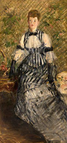 Édouard Manet, Woman, 1877–80. Oil on canvas, 68 5/8 x 32 7/8 inches (174.3 x 83.5 cm)