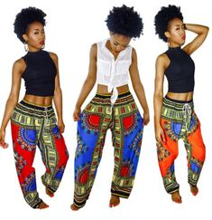 Women Boho Traditional Ethnic African Dashiki Art Harem Wide Leg Pants Trousers in Clothing, Shoes & Accessories, Women's Clothing, Pants | eBay