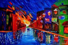 cityscape paintings rain painting couple night street by malorcka, $295.00