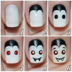 Tutorials for how to DIY Halloween Nail Art! We are in love with these nail art ideas that are Halloween themed for some seriously spook-tacular finger nails. Cute Halloween Nails, Halloween Nail Designs, Easy Halloween, Halloween Vampire, Funny Halloween, Halloween Mode, Women Halloween, Halloween Pictures, Halloween Halloween