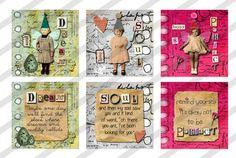 Digital collage sheet  1.5 X 1.5  Slides  Inspiration Fairies  (Sheet no. FS213) Instant Download