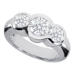 Three Stone Round Diamond Bezel Set Engagement Ring 1.3 Carat.   Luv this setting!
