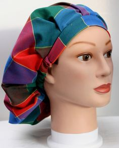 Plaid Bouffant Surgical Scrub Hat by duehringphotocc on Etsy, $5.00