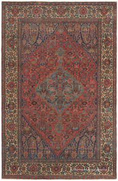 HALVAI BIJAR (Bidjar), Northwest Persian, 4ft 6in x 7ft 0in, Late 19th Century. Extremely unusual boteh-adorned cornerpieces are reminiscent of a fine kashmiri shawl in this whimsical antique Persian Halvai Bijar (Bidjar) rug. In this subgroup known for its extremely fine knotting and crystal clear design work, this 19th century rug boasts a composition that is tremendously crisp and clear.