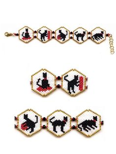 #beadwork  Black Cats Trimmed in Gold Peyote Beaded Braclet