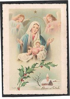 Cartolina Buon Natale ANGELI MARIA GESU BAMBINO Illustratore Bonelli YA776