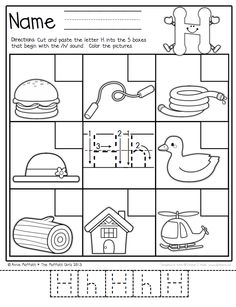 Letter Sounds-Identify the beginning sound, color the pictures, cut and paste!