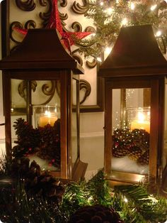 Decorated lanterns for a mantel