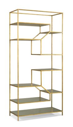 Perfect for displaying your favorite books and home accents with added height and drama, this étagère is detailed with nine mirrored-glass shelves set in structural metal cagework. An aged gold. Hickory Furniture, Ikea Furniture, Furniture Design, Furniture Plans, Luxury Furniture, Antique Furniture, Interior And Exterior Angles, Muebles Living, Glass Shelves