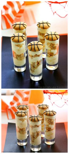 These Cheesecake Pudding Shooters are easy and simple treats for March Madness! www.the-girl-who-ate-everything.com