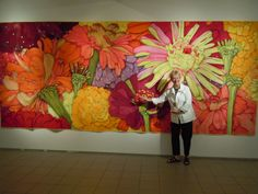 I adore Velda's art quilts!  --   art quilts | Velda's Zinnias to Scale