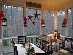 Country Christmas porch. I would love to do this with our back deck!  Enclose it!