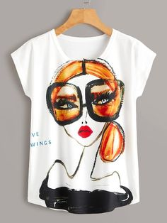 To find out about the Figure Print Tee at SHEIN, part of our latest T-Shirts ready to shop online today! T Shirt Painting, Fabric Painting, Tshirt Painting Ideas, Fabric Paint Shirt, V Wings, Elisa Cavaletti, Diy Vetement, Painted Clothes, T Shirt Designs