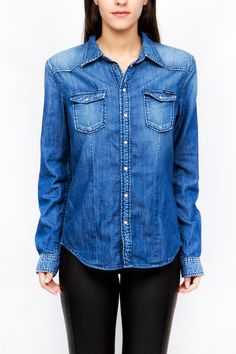 Denim Button Up, Button Up Shirts, Pepe Jeans, Woman, Tops, Fashion, Moda, Fashion Styles, Fasion