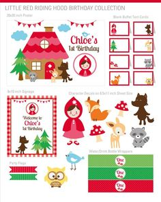 Little Red Riding Hood Party Decorations Little Red por maydetails Little Red Hood, Little Red Ridding Hood, Party Kit, Diy Party, Red Riding Hood Party, Fairytale Party, Invitation, Party Flags, Tent Cards