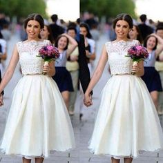 Nice Awesome Tea Length Wedding Dresses A Line Boat Neck Two Pieces Simple Bridal Gowns Short 2017-2018 Check more at http://24shopping.gq/fashion/awesome-tea-length-wedding-dresses-a-line-boat-neck-two-pieces-simple-bridal-gowns-short-2017-2018-2/