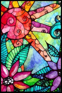 Giclee print from my original Jungle Fever created with watercolor and ink on watercolor paper. It has a beautiful stained glass effect that will brighten any d