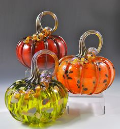 Large Trio of Pumpkins I: Drew Hine: Art Glass Sculpture - Artful Home