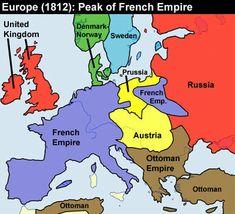 Europe 1812 - Peak of French Empire under Napoleon.