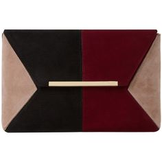 Dune Batch Colour Block Clutch Bag , Burgundy/Black found on Polyvore featuring bags, handbags, clutches, burgundy purse, color block purse, metallic handbags, evening purses and special occasion clutches
