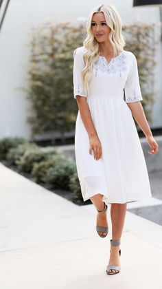 Abigail dress (white) in 2019 modest fashion bestsellers ули Sun Dresses Modest, Modest White Dress, Modest Summer Outfits, Cute Summer Dresses, Fall Dresses, Simple Dresses, Casual Dresses, Flower Dresses, Womens White Dress