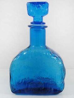 vintage blue glass bottle