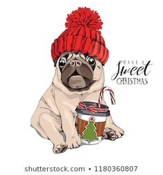 Adorable beige puppy Pug in a red knitted hat and with a coffee. Have a sweet ch… Adorable beige puppy Pug in a red knitted hat and with a coffee. Have a sweet christmas – lettering quote. New Year card, t-shirt composition, handmade vector illustration. Lap Dogs, Dogs And Puppies, Cute Puns, Pug Art, Brussels Griffon, Cute Animal Drawings, Vintage Dog, New Year Card, Pug Love
