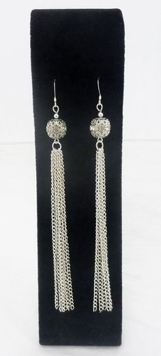 Shoulder Duster Tassel Earrings Featuring Swarovski Crystal Filigree Balls