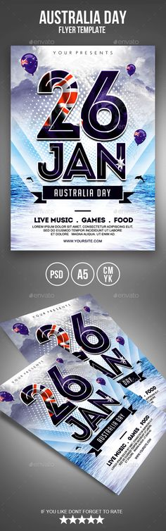 Australia Day Flyer Design Template - Holidays Events Flyer Design Template PSD. Download here: https://graphicriver.net/item/australia-day-flyer/19262427?ref=yinkira