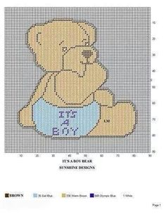 IT'S A BOY BEAR by SUNSHINE DESIGNS - WALL HANGING