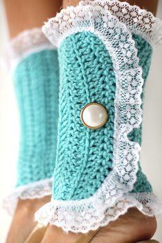 Lacy Lady Victorian Leg Warmers - Aqua