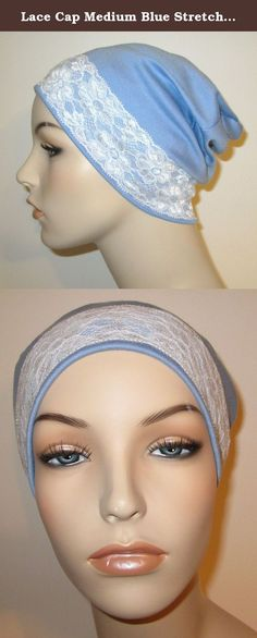 Lace Cap Medium Blue Stretch Knit With White Lace Trim Fashion Chemo Hat Alopecia Head Cover Cancer Hat. Quality handmade in the USA . Fashionable lace cap looks great on those WITH hair and without hair! Wear it around the house or to yoga. This cap makes a wonderful gift to give to a friend! Size: My hats will fit heads that measure 21 - 22 1/2 inches. If your head is larger or smaller than these measurements, I'll be glad to custom size your hat at no extra charge. Just be sure to…