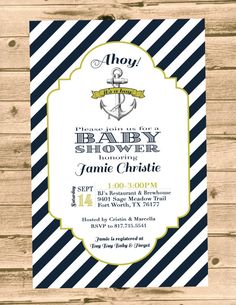 Nautical Anchor Baby Shower Invitation by PartyPrincipessa on Etsy, $12.00