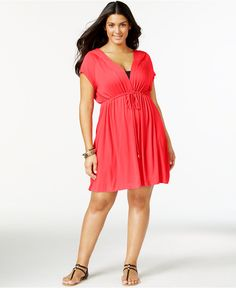 Dotti Plus Size Hooded Drawstring Cover-Up - Swimwear - Plus Sizes - Macy's