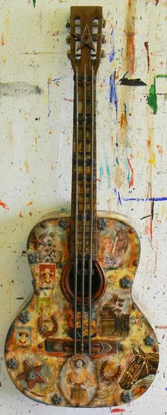 Dave Newman | Reclaimed Art | Cowgirl Guitar | $2150 Bluegrass Music, Found Art, Guitar Case, Paper Paper, Assemblage Art, Sweet Notes, Recycled Art, Mixed Media Collage, Serendipity