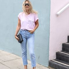 Pink and jeans Fashion Me Now, Uñas Fashion, Fashion Looks, Look Street Style, Street Chic, Moda Jeans, Outfits Mujer, Estilo Blogger, Chanel