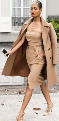 All Camel And Nude Heels Outfit by Micah Gianneli