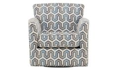 A fun swivel accent chair that has been upholstered in a blue geometric fabric. A statement piece in a living room!