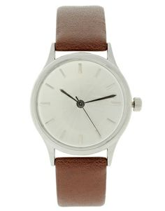 ASOS Brushed Silver Leather Strap Grandad Watch