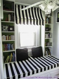 our window seat family library, design d cor, diy, storage shelving, The completed window seat Mini Loft, Ikea Leirvik, Unique Window Treatments, Diy Home Decor, Room Decor, Bookcase Styling, Ikea Furniture, Home And Living, Living Room