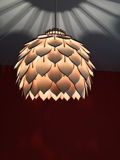 Laser Cut Wooden Light Shade - Leave Pattern